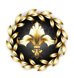 Gold Fleur De Lis with Laurel Wreath vector image vector image