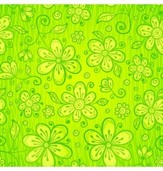 Green doodle flowers seamless pattern vector image vector image