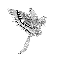 Hand drawn artistically ornamental tribal Parrot vector image