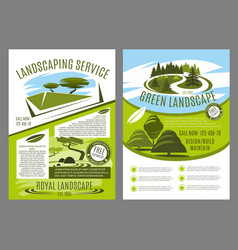 landscaping and gardening service business poster vector image vector image