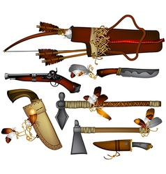 set of weapons American indian vector image vector image