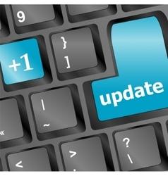 Upgrade computer key on blue keyboard vector image
