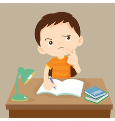 cute boy thinking working on homework vector image vector image