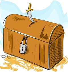 Old pirate treasure with lock and dagger vector image vector image
