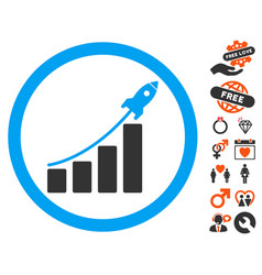 rocket startup bar chart icon with love bonus vector image vector image
