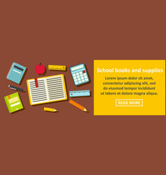 school books and supplies banner horizontal vector image