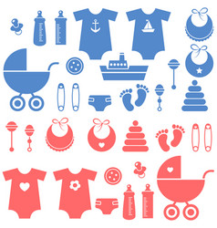 set of baby boy and girl elements icons vector image vector image