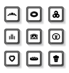 set of bakery buttons vector image vector image