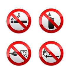 set prohibited signs - flames vector image vector image
