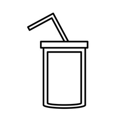 soda cup straw juice outline vector image vector image