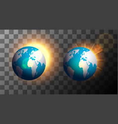 sunrise over the earth on a transparent background vector image
