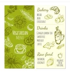 Vegetarian Menu Sketch Template vector image vector image