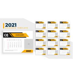 2021 calendar design in professional business vector