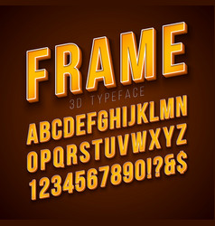 3d alphabet font with frame and shadow vector