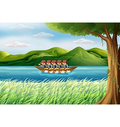 A group of boys riding on a boat vector