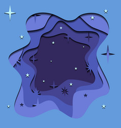 abstract of night sky with 3d element cut out of vector image