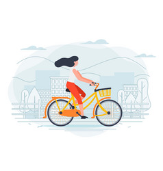 Banner template with girl on a bike vector