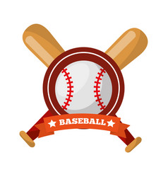 Baseball ball bats crossed game sport emblem vector