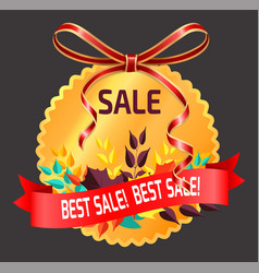 best sale in shop round label with promotion vector image