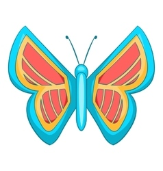 Blue and red butterfly icon cartoon style vector image