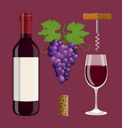 Bottle glass cork corkscrew vector