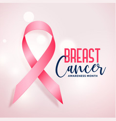 breast cancer awareness month with realistic pink vector image