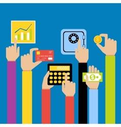 Business hands money vector image