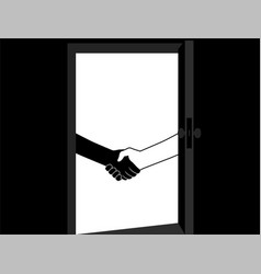 business handshake behind the door contract vector image