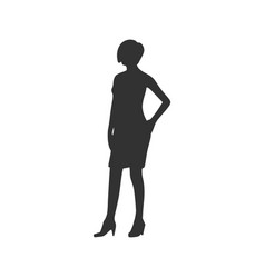 business woman black silhouette vector image