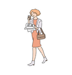 Business woman reading newspaper and holding vector