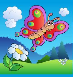 Butterfly on meadow vector