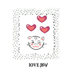 cat kitty love character design funny vector image