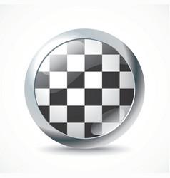 Checkered Race flag button vector image