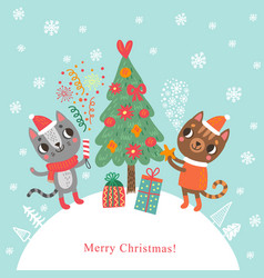 Christmas cats vector