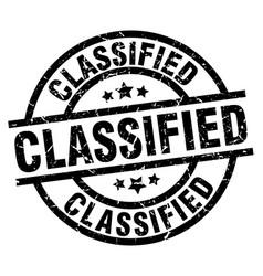 Classified round grunge black stamp vector