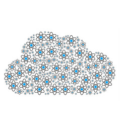 Cloud collage of atom icons vector