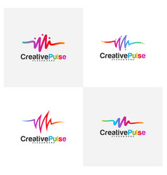 Colorful pulse logo concepts pulse people logo vector