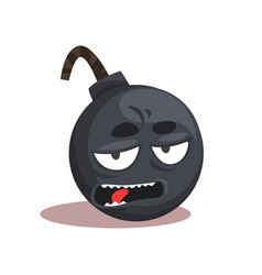 comic bomb emoji cartoon character with bored vector image
