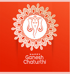 Creative happy ganesh chaturthi festival greeting vector