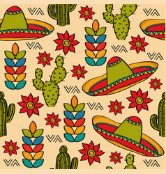 Doodle seamless pattern with mexico symbols vector