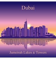 Dubai Jumeirah Lakes Towers silhouette on sunset b vector image