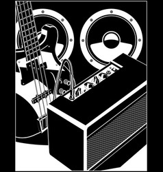 electric guitar with amp and power speakers vector image