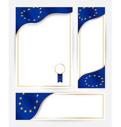European union flag banners set vector