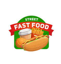 fast food restaurant street cafe meals icon vector image