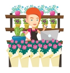Florist at flower shop vector