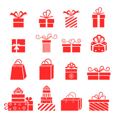 gift icons collection for birthday vector image