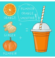 Glass with pumpkin orange smoothie Natural bio vector