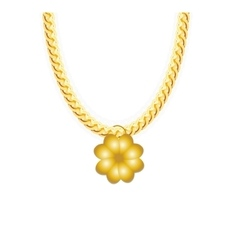 Gold chain jewelry whith four-leaf clover vector