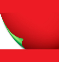 green curled corner red paper background vector image