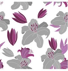 Grey lily pattern vector